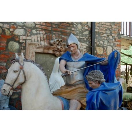 LS 273 San Martino di Tours a cavallo con il mendicante h. cm. 190